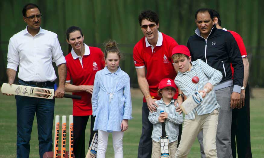 Justin Trudeau enjoying cricket session with family.